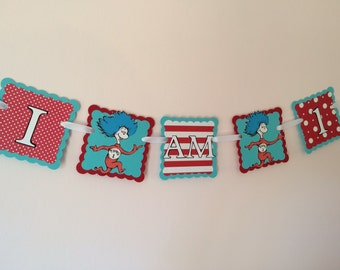 Dr. Seuss high chair banner/ Thing 1 and Thing 2 banner