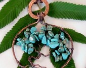 Tree of Life pendant necklace copper turquoise washer jewelry