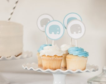 Elephant Cupcake Toppers, Elephant Baby Shower, Boy Baby Shower, Light Blue and Gray Cupcake Toppers - Elephant - Set of 12