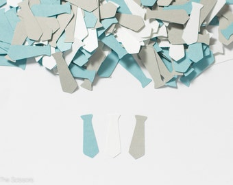 Little Man Baby Shower- Baby Boy Shower Decoration - Tie Confetti - Blue Gray