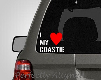 I Heart My Coastie - White Text with a Red Heart - Coast Guard Spouse Car Decal - Coast Guard Wife - Laptop Decal