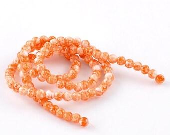 100 pcs - 1 strand of  8 mm Orange Mottled Glass Beads