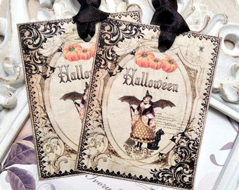 Cottage Halloween Tags (6) - Halloween Favor Tag-Halloween Treat Tag-School Treat Tags-Shabby Halloween Tag-Vintage Style-Shabby Gift Tag