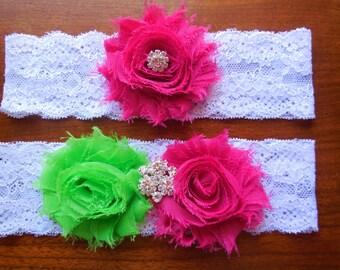 Lime Garter, Garter, Garter Set, Wedding Garter, Fuchsia Garter, Fuchsia and Lime, Pink and Green, Lace Garter, Green and Pink