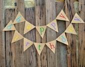 HAPPY BIRTDAY colored burlap banner