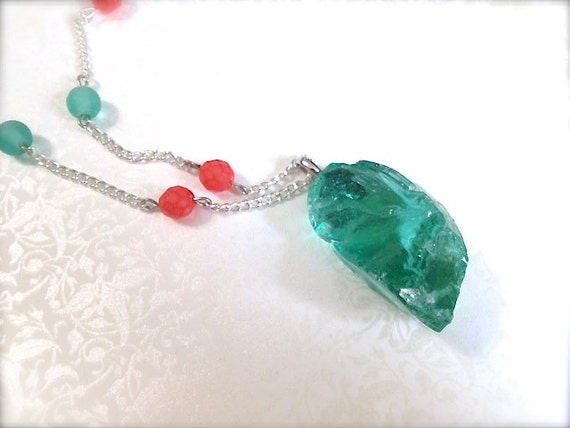Chiseled Aqua Glass. Coral. Turquoise. Beach. Nautical. Summer. Mint. Green. Orange. Boho. Long Necklace. Statement Jewelry. Silver Chain.