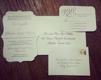 Wedding Invitation Suite, Die Cut