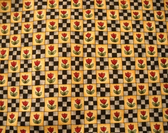 Pure Cotton Fabric featuring tulips and 'nine patch' grid - black, grey, red, yellow and green -
