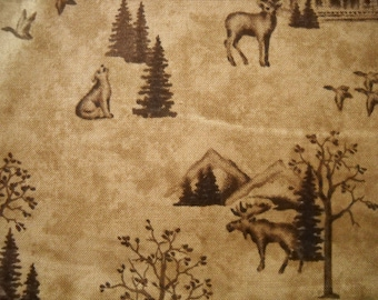 Brown Moda cotton fabric featuring bears, elk, wolves and flying geese - fat quarter - pioneer thanksgiving style