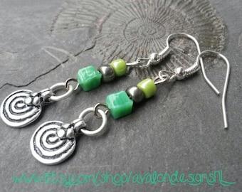 SALE Rustic spiral amulet charm earrings  with green & dark silver glass beads Fibonacci nickel-free Bohemian hippie pagan Pixie nature boho