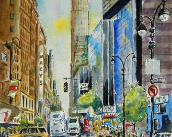 New York City Street - archival giclee art print of my original watercolor painting