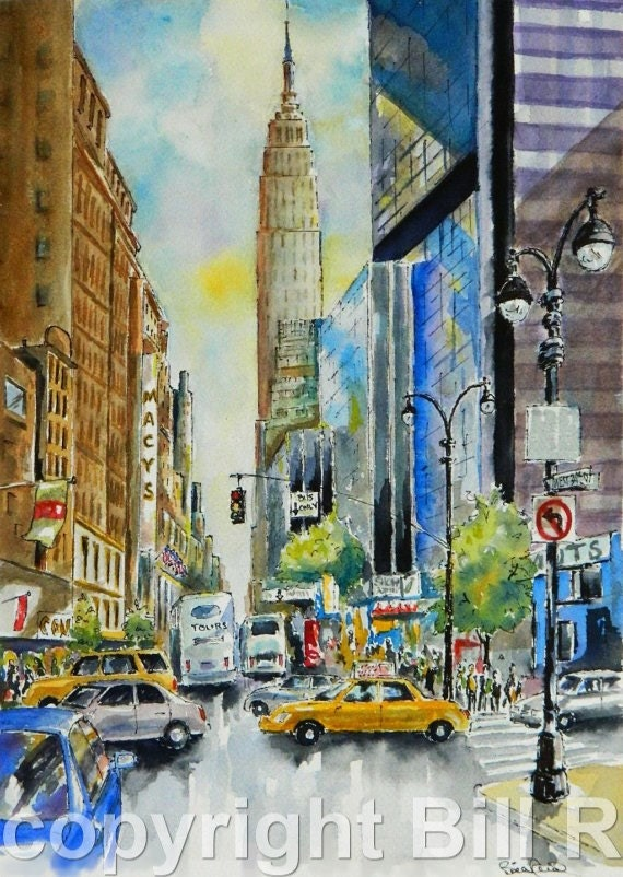 Home decor new york city street watercolor art by billsartshop for New york home decorations