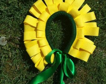 Flower Headpiece - Yellow Dandylion Felt - Flower Costume - Flower Crown -Alice in Wonderland - Flower Fairy