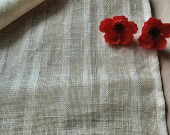 "SALE Linen Tablecloth 59""x59"" Ivory Burlap Striped"