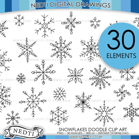 Doodle Style Winter Snowflake Vector Illustration Royalty Free ...