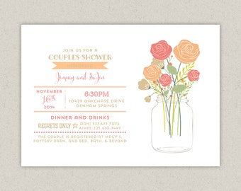 mason jar couples shower invitation