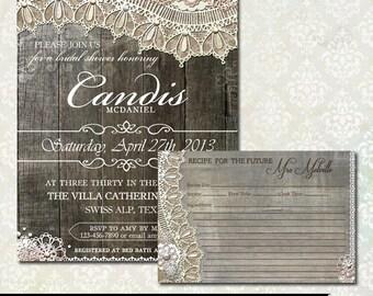 Rustic Bridal Shower Invitations   Rustic Lace Wood Wedding Shower   Recipe Card Printable   DIY Printable Invitation and Recipe Card
