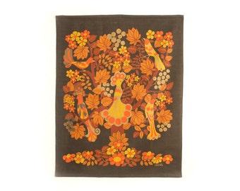 Vintage Large Ullas Swedish Handprinted Mod Floral Textile Wall Hanging - Mid Century
