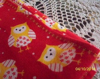 100% Cotton Flannel Baby Receiving Blanket with Owls and Yellow Embroidery