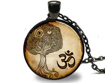 Namaste Necklace , Om Yoga Jewelry , Zen Tree Pendant , Black (PD0538)