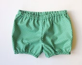 Girls Green Cotton Bloomers / Bubble Shorts / Emerald green polka dots