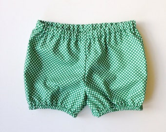 Girls Green Cotton Bloomers / Bubble Shorts / Emerald green polka dots