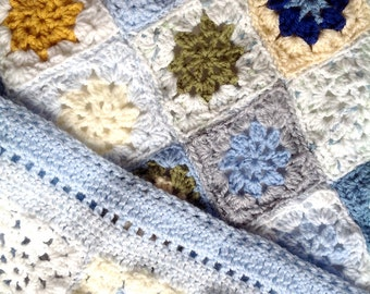 Crocheted Baby Blanket-  Boy or Girl- Made To Order- Hand Crochet- Baby Afghan- Crib Blanket - Blues, Grey, Yellow, White