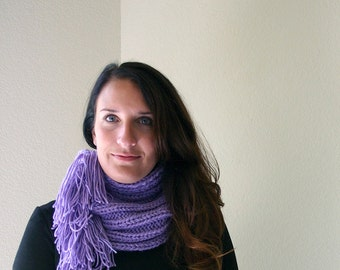 Purple Knit Cowl- Circle Scarf- Knitted Winter Accessory- Worsted- Soft and Warm- Ready To Ship- Pattern Available