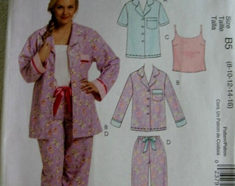 McCalls Misses Pajamas Top Camisole and Pants Pattern M5990 UC Uncut FF 8 10 12 14 16