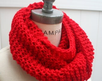 Hand knit knitted items, Red infinity Scarf, popular Women Scarves, lightweight knit infinity Winter Scarf, teacher gifts for mom- By PIYOYO