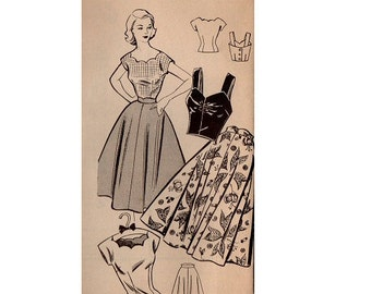 1950s Mail Order Sewing Pattern Fashion Bureau Circle Skirt Swing Garden Tea Dress Fitted Bodice Scalloped Neck Top Uncut Bust 30