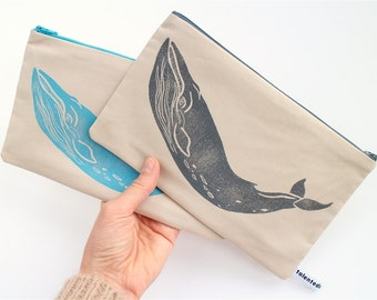 Grey or Turquoise Whale Purse - Natuical Zipper Pouch