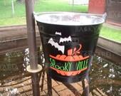 Personalised Halloween Pumpkin and Bat Decal