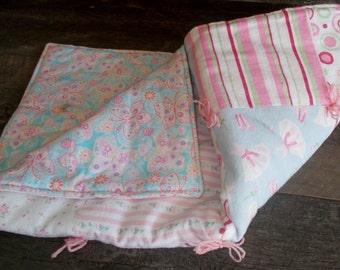 "Lap Blanket, Quilt Blanket, Baby Girl, Patchwork Quilt, Girl Quilt, Ballet Quilt, Handmade Blanket, Baby Shower Gift, Baby Quilt,  27"" x 27"""