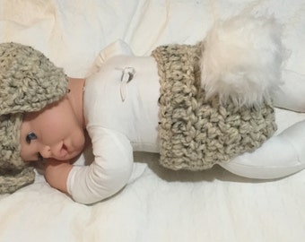 Newborn Bunny Diaper Cover with Matching Floppy Ear Hat