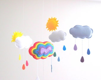 Rainbow Felt Mobile, Wool Felt Baby Mobile for Baby Crib, Kids Playroom or Modern Nursery Decor
