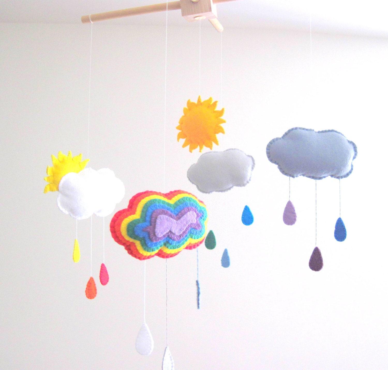 Regenbogen Filz Mobile Wolle Filz Baby Mobile für von GracesFavours