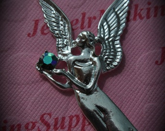 Huge Genuine Silver Plated Swarovski Crystal Angel Pendant In Starlight Silver