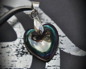 Genuine Swarovski Crystal Vitrail Light 16mm 6221 Puffed Heart Silver Plated Pendants