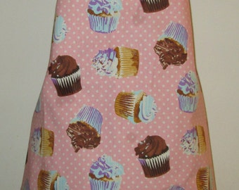 Homemade Pink with White Polka Dots Cupcake Apron