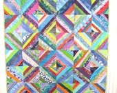 Custom Quilt - Personalized Quilt -  Scrap Quilt -  Homemade Lap Quilt -  String Quilt - Couch Quilt - Quilted Throw Blanket - Quilt