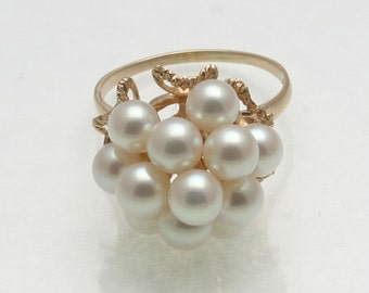 Vintage 14k yellow gold white pink Pearl Cocktail Ring Vintage large right hand ring