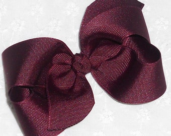 "Maroon Hair Bow Maroon Bow School Uniform Bow Girls Bow-Medium 4"" Twisted Boutique Hair Bow-Baby Bow Toddler Bow Preppy Bow Maroon Hair Clip"