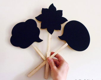 3 Chalkboard Wood Photo Booth Props Speech Bubbles on a Stick Wedding or Engagement Photo Props
