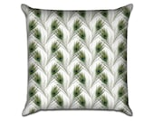"""Peacock Feathers - Original Pattern Sofa Throw Pillow Envelope Cover for 18"""" inserts"""