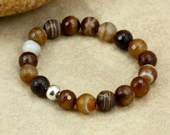 Agate Stacking Bracelet with Sterling Silver, Brown Lace Agate, Stretch Bracelet