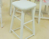 Vintage Kitchen Stool White Shabby Chic Distressed