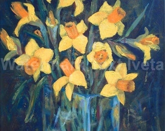 Daffodils 1, flower, original oil painting