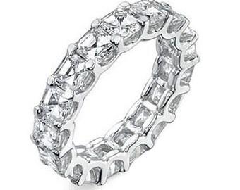 3 CTw. Asscher Real Diamonds Eternity Wedding Ring Band 14k White Gold