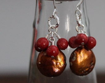 Bronze Freshwater Pearl and Red Coral Earrings